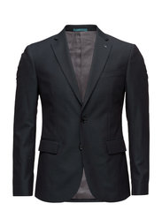 Slim-fit patterned suit blazer - DARK BLUE