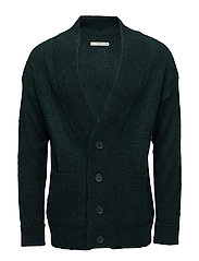 Textured knit cardigan - DARK GREEN