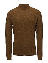 High collar sweater - MEDIUM BROWN