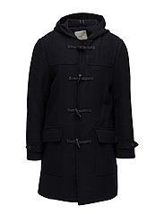 Hood wool-blend duffle coat - NAVY