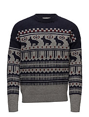 Fair isle wool sweater - NAVY
