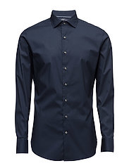 Slim-fit Tailored stretch cotton shirt - NAVY