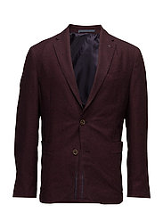 Slim-fit patterned cotton blazer - DARK RED