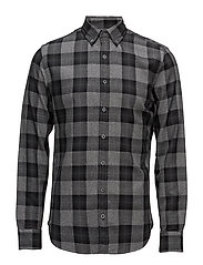 Slim-fit check flannel shirt - BLACK