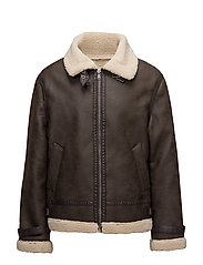 Faux shearling aviator jacket - DARK BROWN