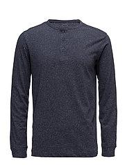 Flecked cotton-blend t-shirt - NAVY