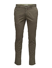 Slim-fit cotton chinos - MEDIUM GREEN
