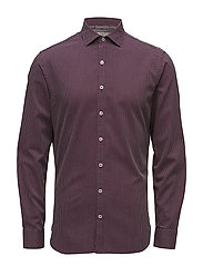 Slim-fit micro check shirt - DARK RED