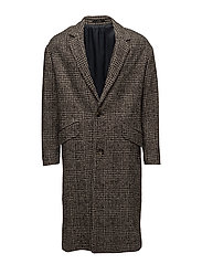 Prince of wales wool-blend coat - BLACK