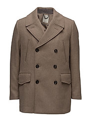 Double button wool peacoat - MEDIUM BROWN