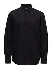 Regular-fit cotton shirt - BLACK