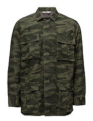 Embroidered camo-print overshirt - BEIGE - KHAKI