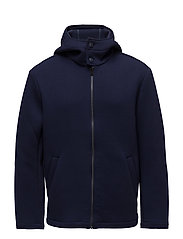 Zip neoprene-effect jacket - MEDIUM BLUE