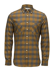 Slim-fit check flannel shirt - DARK YELLOW