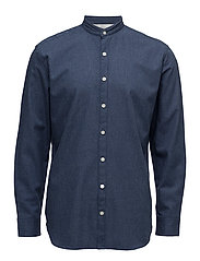 Regular-fit mao collar cotton shirt - MEDIUM BLUE