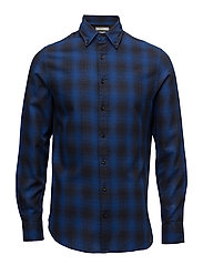 Slim-fit check flannel shirt - BRIGHT BLUE