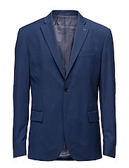 Slim-fit patterned suit blazer - MEDIUM BLUE