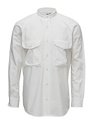Regular-fit mao collar cotton shirt - WHITE