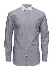 Slim-fit striped cotton shirt - NAVY