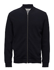 Textured cotton bomber jacket - NAVY