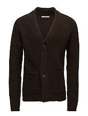 Chunky knit wool-blend cardigan - BEIGE - KHAKI
