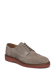 Contrast sole leather blucher - GREY