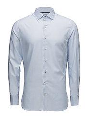 Slim-fit structured cotton shirt - LT-PASTEL BLUE
