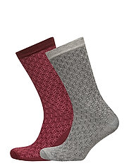 Geometric print ankle socks pack - DARK RED