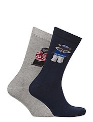 2 pack patterned socks - NAVY