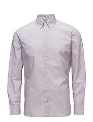 Slim-fit embroidered striped shirt - LT-PASTEL PURPLE