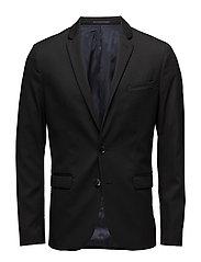 Super slim-fit patterned suit blazer - BLACK