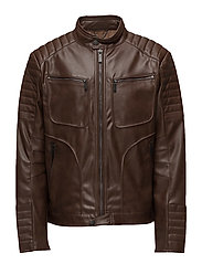 Zipped biker jacket - DARK BROWN