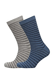 2 pack striped socks - MEDIUM GREY
