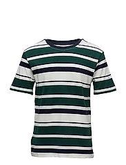 Striped cotton piqu t-shirt - GREEN
