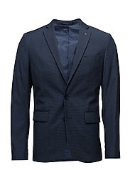 Slim-fit patterned suit blazer - MEDIUM BLUE