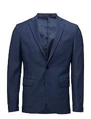 Slim-fit patterned suit blazer - DARK BLUE