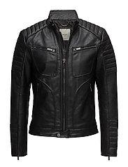 Zipped biker jacket - BLACK