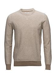 Textured cotton sweater - LIGHT BEIGE