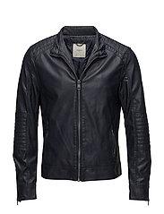Quilted panels biker jacket - NAVY