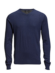 Cotton cashmere-blend sweater - Navy