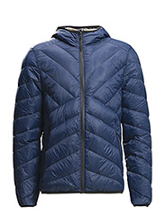 Hooded water-repellent quilted jacket - BRIGHT BLUE