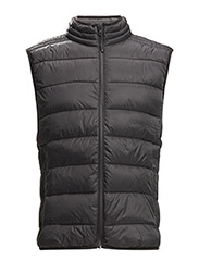 Paneled water-repellent quilted gilet - BLACK