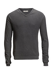 Cable-knit cotton sweater - Charcoal