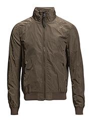 Concealed hood nylon jacket - Beige - khaki
