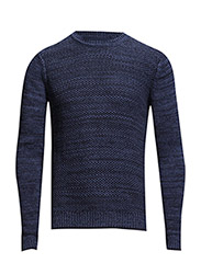 Mixed knit sweater - Navy