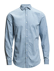 Slim-fit chambray cotton shirt - Open blue