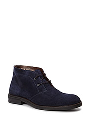 Lace-up suede ankle boots - NAVY
