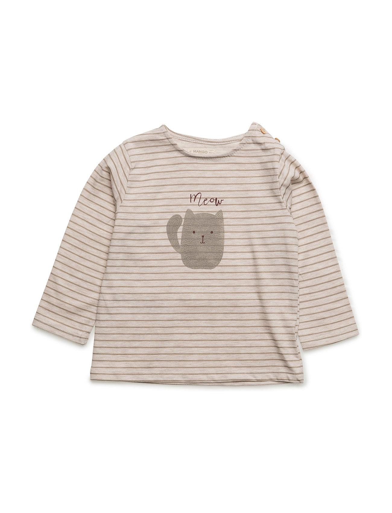 Striped Print T-Shirt Mango Kids Langærmede t-shirts til Børn i Lt Pastel Brown