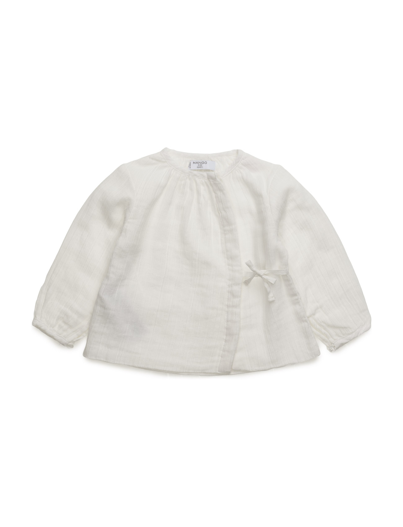 Textured Cotton Shirt Mango Kids  til Børn i Natural White