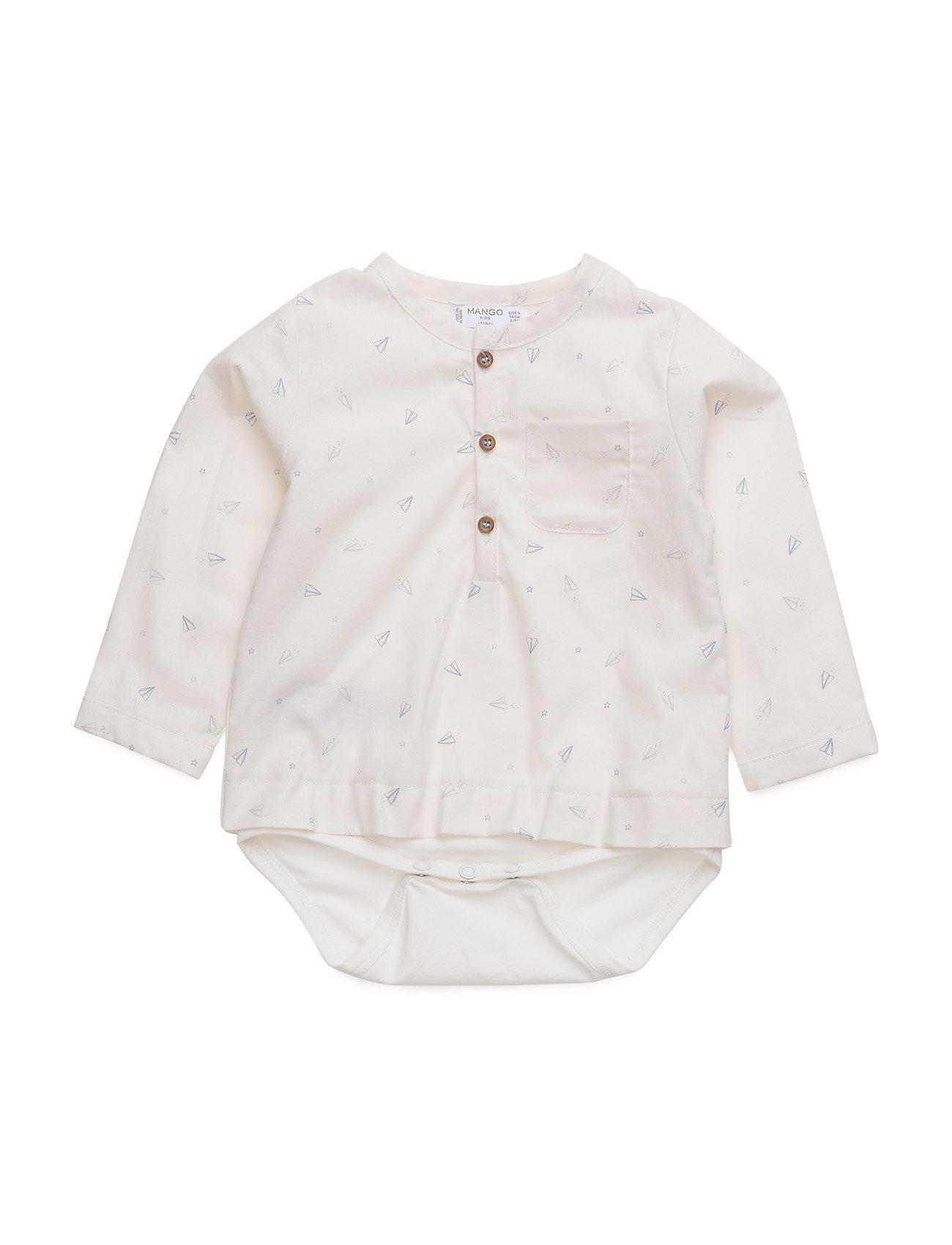 Printed Cotton Shirt Mango Kids Langærmede bodies til Børn i hvid